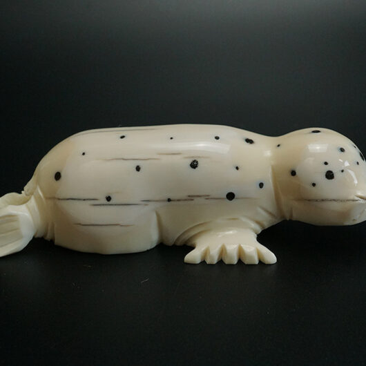 Dennis Pungowiyi Carved Walrus Tusk Ivory Spotted Seal