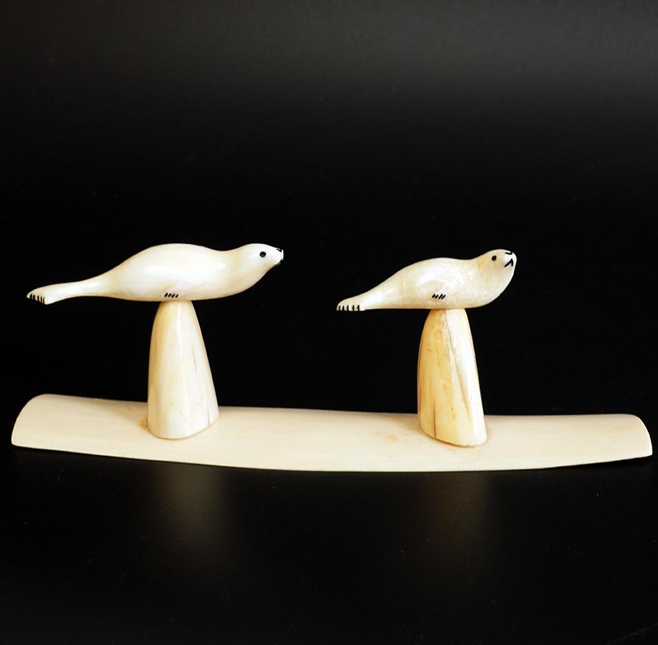 Arnie Iyakitan Eskimo Ivory Carving Two Seals on Pedestals