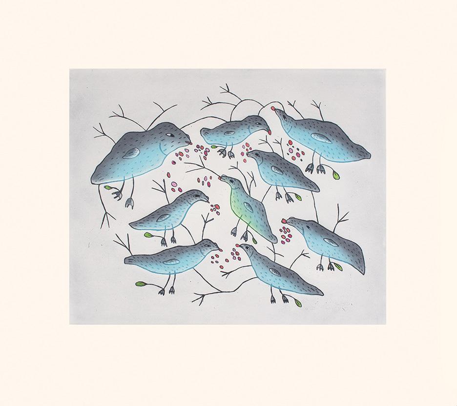 Birds Eating Berries by Malaija Pootoogook