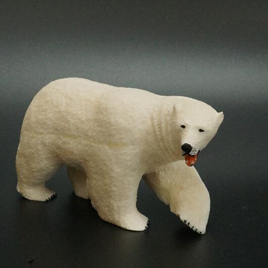 Eskimo Carved Ivory Polar Bear by Myrtle Boochu