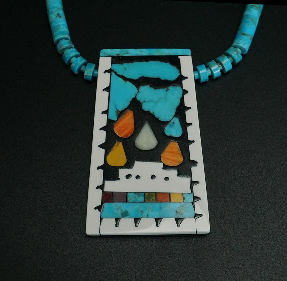 Santo Domingo Jewelry Pueblo Rain Mosaic Necklace by Mary Tafoya