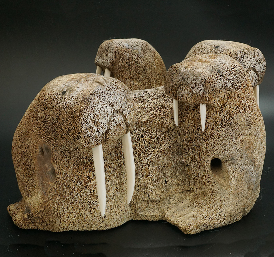 Whalebone Walrus Group by Eskimo Artist HB Slwooko