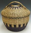 Deborah Gabriel Brooks Passamaquoddy Work Basket Braided Sweetgrass Wabanaki baskets ME00572-1