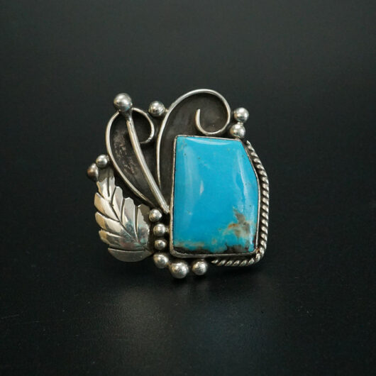 Kingman Turquoise Navajo Ring with Leaves and Vines Cheryl Arviso
