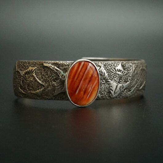 Navajo Artist Cheryl Arviso Sterling Silver Bracelet with Spiny Oyster Shell