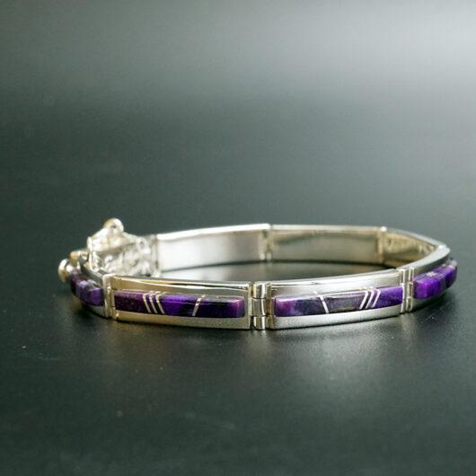 Navajo Jewelry Earl Plummer Deep Purple Sugilite Inlaid Link Bracelet