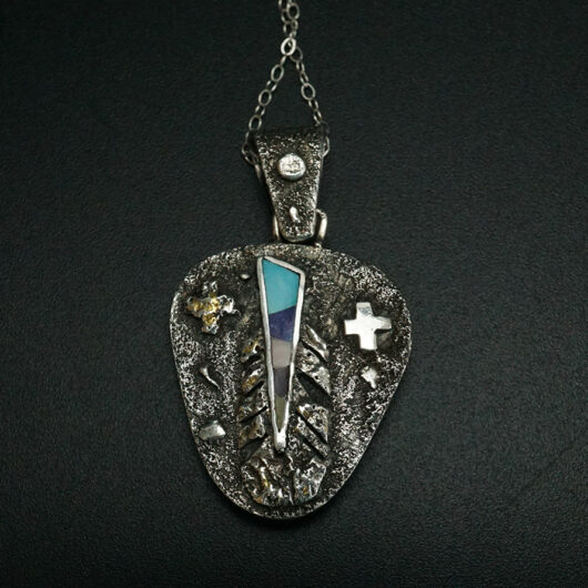 Reversible Sterling Silver Inlaid Pendant Cheryl Arviso Navajo Jewelry