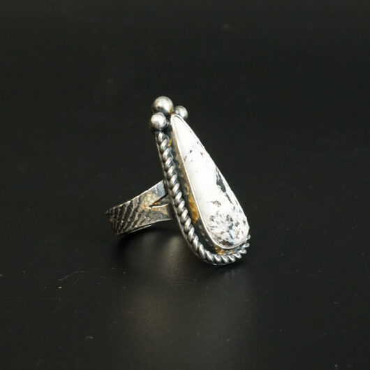 Sterling Silver White Buffalo Ring Cheryl Arviso Native American Jewelry