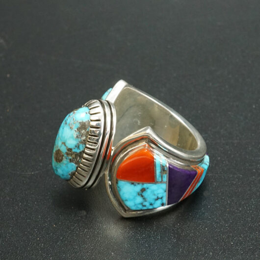 Sterling silver ring with natural Kingman Turquoise Coral Sugilite Navajo Jewelry