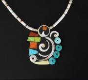 Mary Tafoya Abstract Owl Swirl Necklace